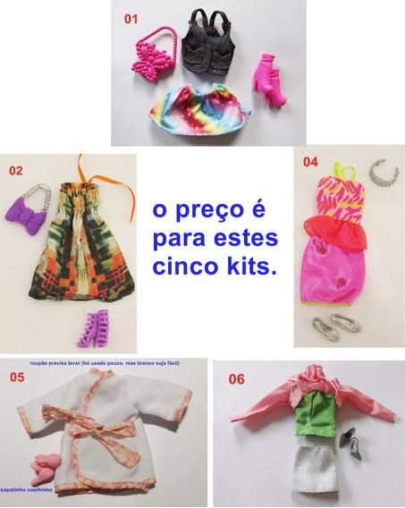Lote 5 Roupas Barbie Fashionistas Acessório Sapato