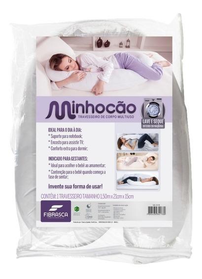 Travesseiro De Corpo Multiuso Minhocão Fibrasca Capa Zíper