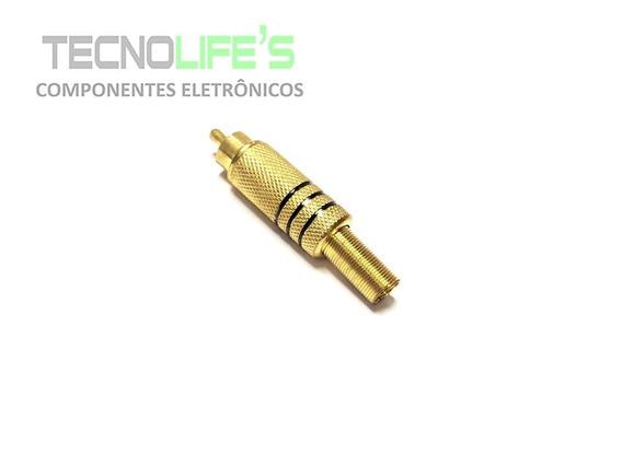 Plug Rca 6mm Gold Com Marcação Preta - Hgd-283 Metal Audio