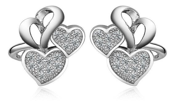 Aretes Doble Corazón De Plata 0.925 Con Zirconias - 640