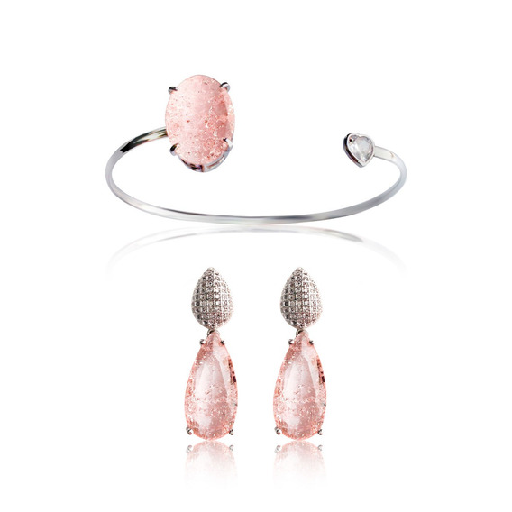 Bracelete Brinco Fusion Rosa Quartzo Semijoia Rodio