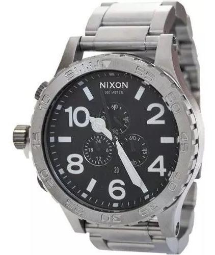 Relogio Pa7299 Nixon Chrono 51-30 Original Prata E Preto Top