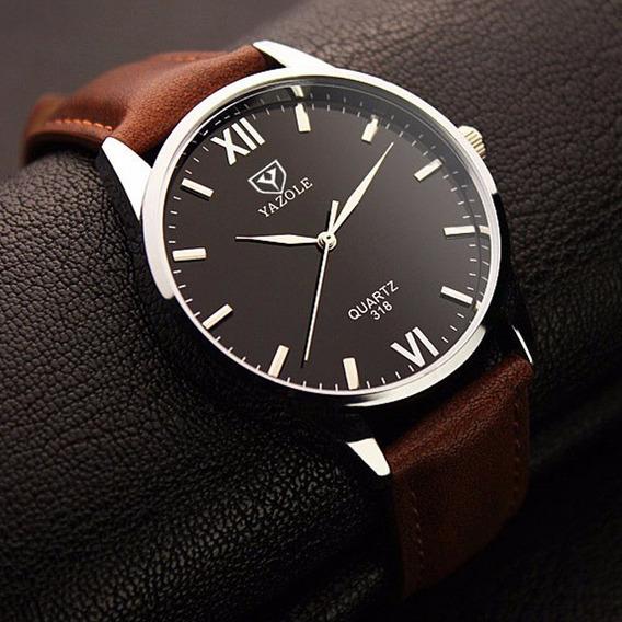 Relógios Masculinos Social Pulso Yazole Couro Luxo Barato N2