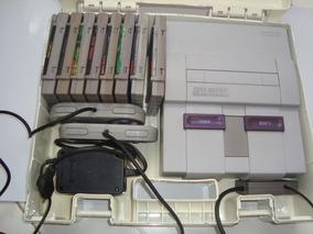 Super Nintendo Com Maleta E 8 Fitas