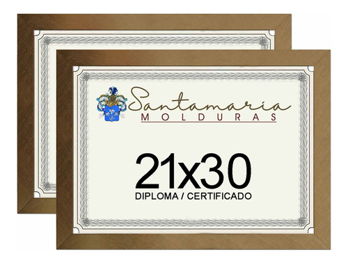 Kit 2 Molduras Porta Diploma Certificado A4 21x30 Dourado