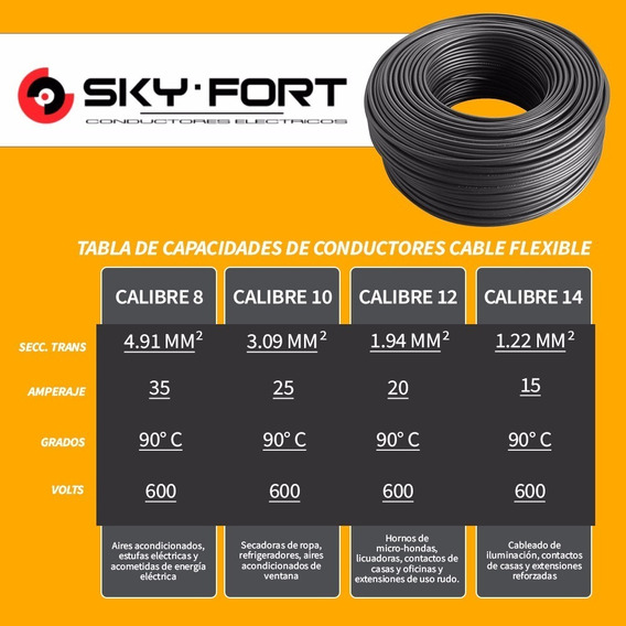 Cable Electrico Thw Calibre 10 Cobre 100% Sky Fort 100 Mts