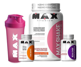 Kit Seca Barriga Max Shake + Bcaa + Ultimate Fire White + Nf