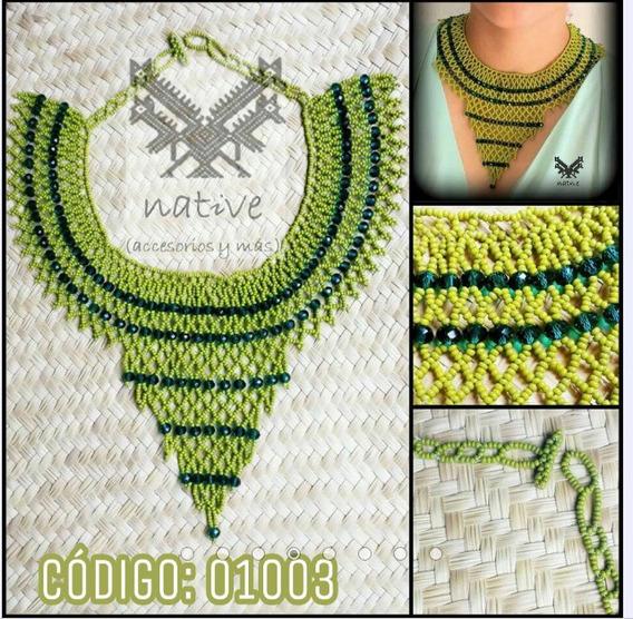Collar Tejido Con Chaquiras Y Piedras De Cristal Verde Jade.