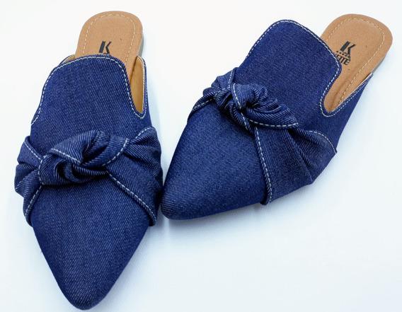 Sapatilha Mule Feminino Bico Fino Jeans Azul Rasteirinha