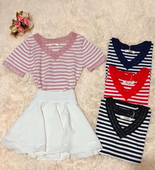 Blusa Camisa T-shirt Feminino Listrada Verao Moda Importado