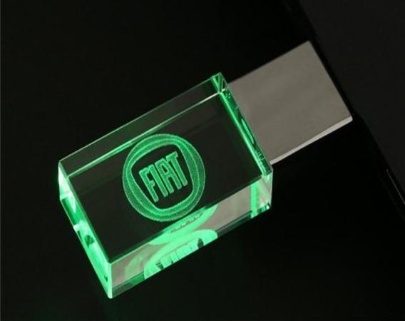 Pen Drive 16gb Cristal Fiat Verde + Caixa Portátil