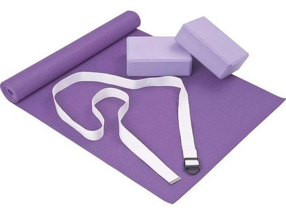 Set Yoga Pilates Fitness Mor Colchoneta Ladrillos Cinta 4pz