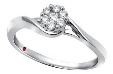 Solitario Oro Blanco 14k Con 16 Puntos De Diamante