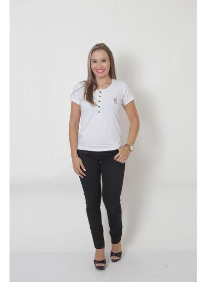 T-shirt Henley Feminina Branca