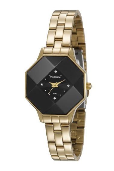 Relógio Mondaine Feminino Dourado F.preto 34924