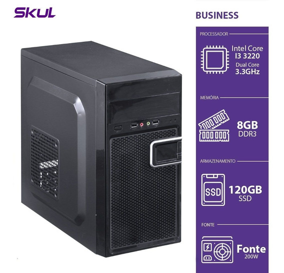 Computador Skul Business B300 I3, 8gb, Ssd 120gb, Fonte 200w