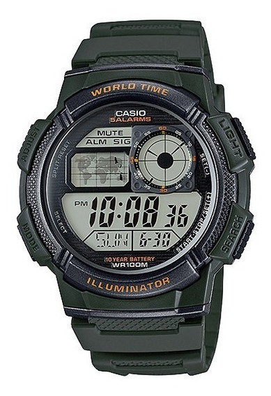 Relogio Casio Ae-1000 Militar Vo Hora Mundi Novo E Original