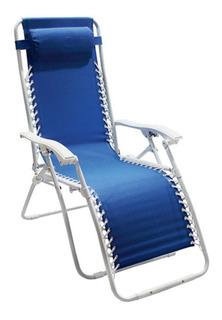 Silla Plegable Sillón Relax Multiposición + Almohadón - Azul