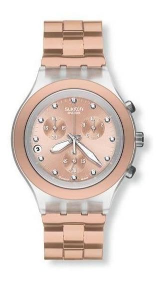 Relógio Swatch Full Blooded Svck4047ag Alumínio Dourado Ori