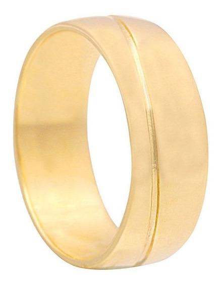 Aliança Com Friso Diagonal Em Ouro 11