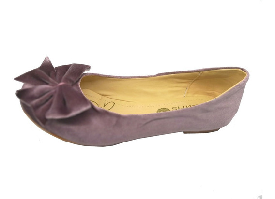 Flats Lila Terciopelo Para Mujer Moda Tendencia