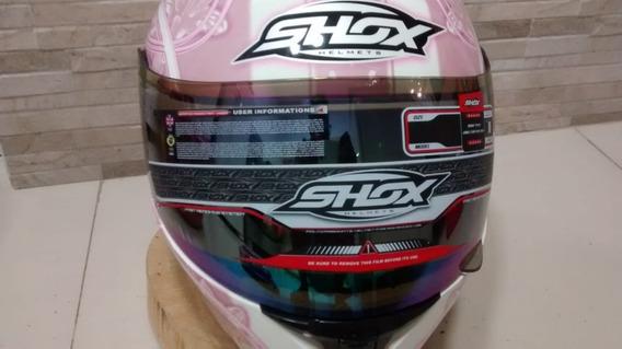 Capacete Shox Gloss Rosa E Branco Novo Em Caixa E Sacola