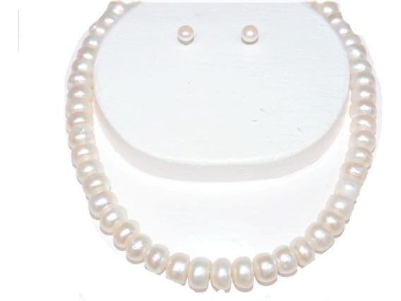 Collar Perla Cultivada Blanca Boton Grande 12 Mm 45 Cm