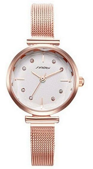 Relógio Feminino Mostrador Pequeno 3atm - Dourado Rosê
