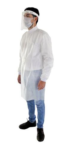 Imagen 1 de 5 de Bata Quirúrgica Uniforme Desechable Médico Ropa Blanca 1 Pza
