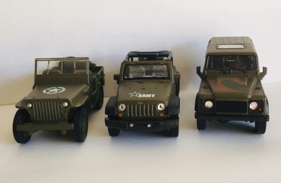 Kit 3 Miniaturas Jeep E Land Rover Exercito 1:34