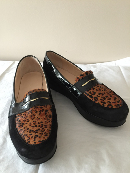 Zapato De Mujer, Mocasín Cuero Gamusa, Animal Print. Usado.