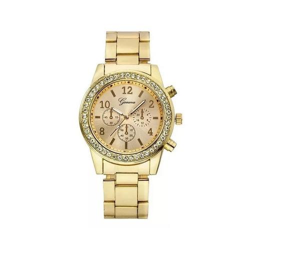 Relógio Feminino Dourado Rose Barato Pedra Prata Brilho Biju