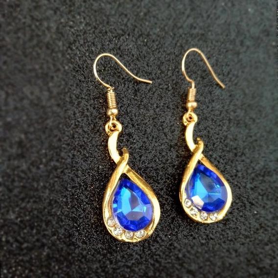 Par De Brincos Gold Crystal Blue Ouro 18k.