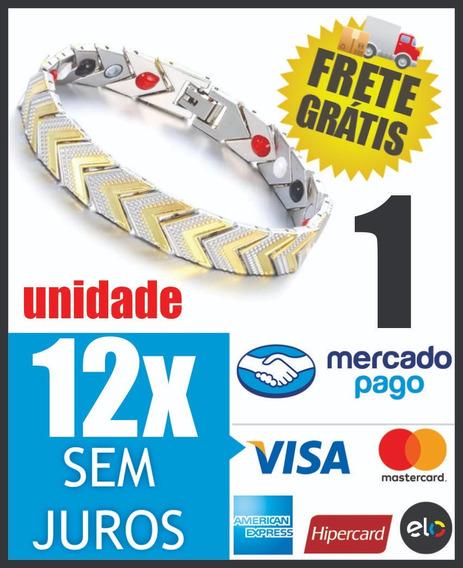 Pulseira Aço Inox Magnética Energética Bracelet Cor Ouro A