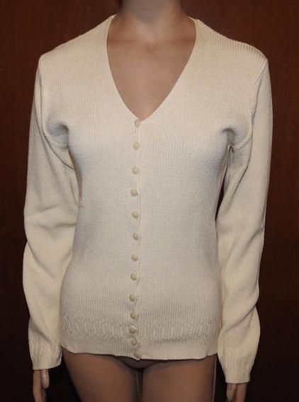 Saquito Sweater Tejido Tipo Hilo Crema Algodón Y Viscosa (b)