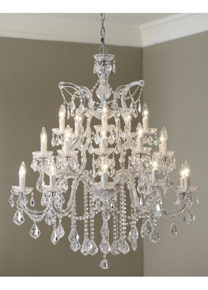 Original Maria Theresa Clear Crystal Chrome Chandelier