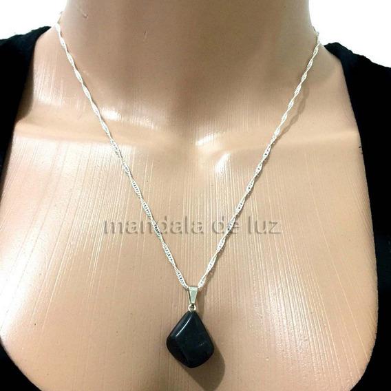 Colar Folheado Prata Pedra Cristal Poder Turmalina Negra 240