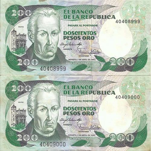 Colombia Dúo De Números Consecutivos 200 Pesos 1 Abril 1983