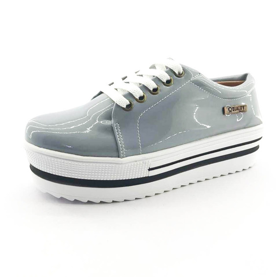 Tênis Flatform Quality Shoes 007 Verniz Cinza Sola Alta Com