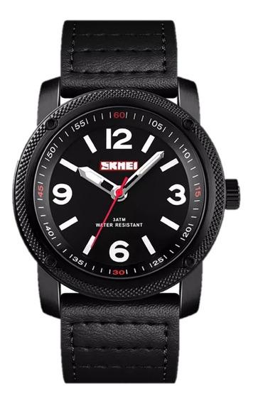 Relógio Skmei 1417 Masculino Couro Legítimo Original Oferta