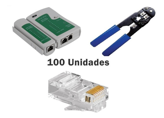 Alicate Crimpador + Testador De Cabos + 100 Rj 45