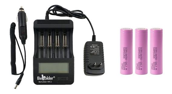 Carregador Bateria 18650 Beholder + 3 Baterias Samsung 18650