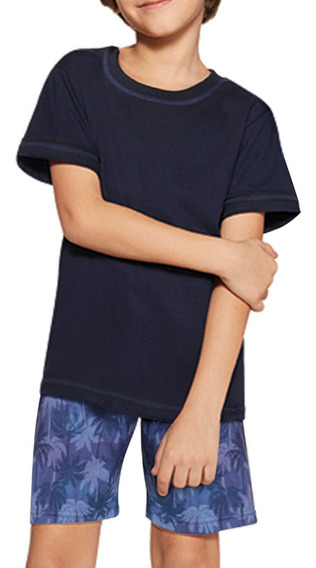 Pijama Infantil Short Camiseta Coqueiro Algodão 20137