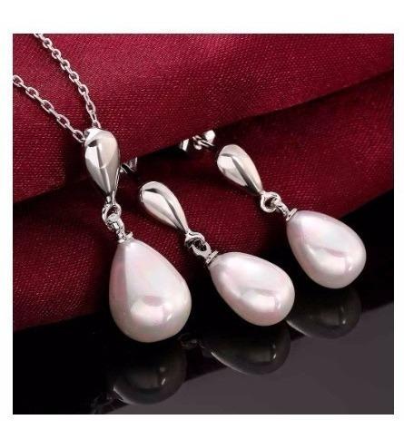 Elegante Romantico Collar Y Aretes Perlas Boda Envio Gratis