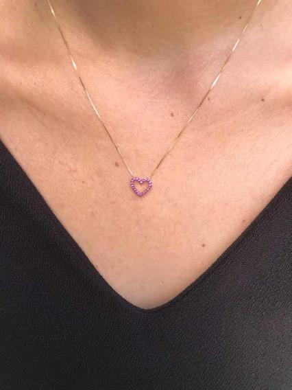 Colar De Ouro Feminino Coração Com Zircônia