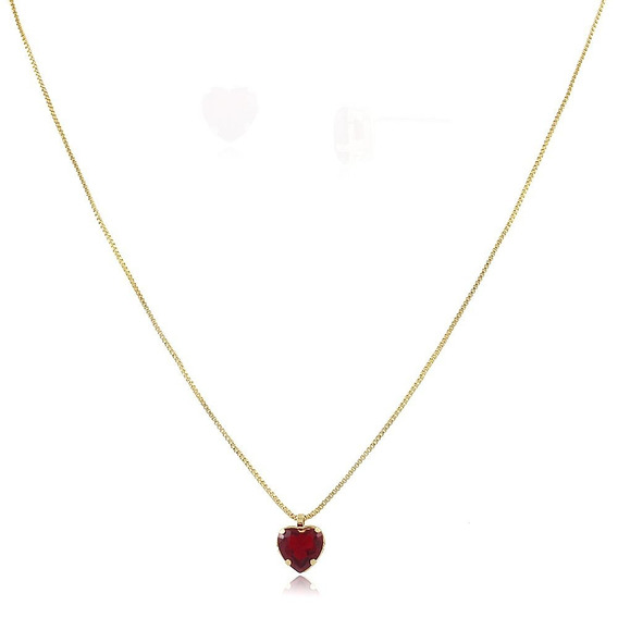 Colar De Coração Rubi - Ouro - Frete Grátis