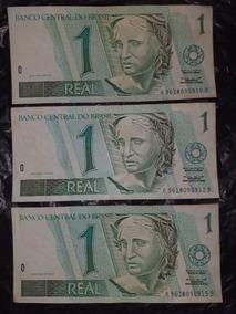 3 Notas De 1 Real Cédula Antiga Excelente Estado Sem Dobras