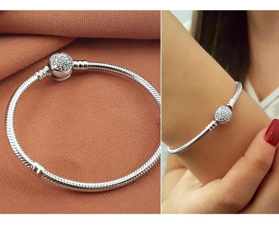 Bracelete Estilo Pandora Prata Pura 925 Com Zirconias - 3743