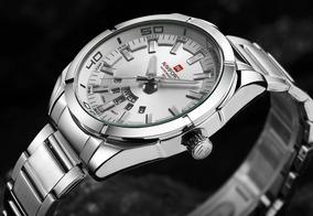 Relógio Sport Fino Masculino Original Cromado Naviforce
