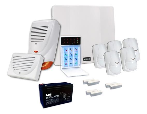 Kit Alarma Para Casa+ Batería+ Sensor Cableado+sirena 12c